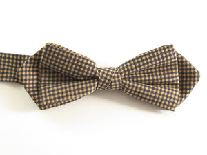 Beige & Navy Blue Gingham Tulip Bow Tie by Van Buck