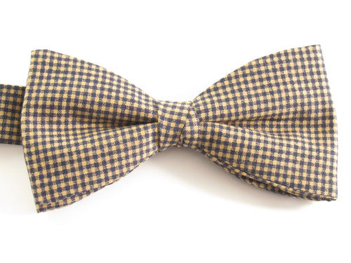 Beige & Navy Blue Gingham Pre-Tied Bow by Van Buck