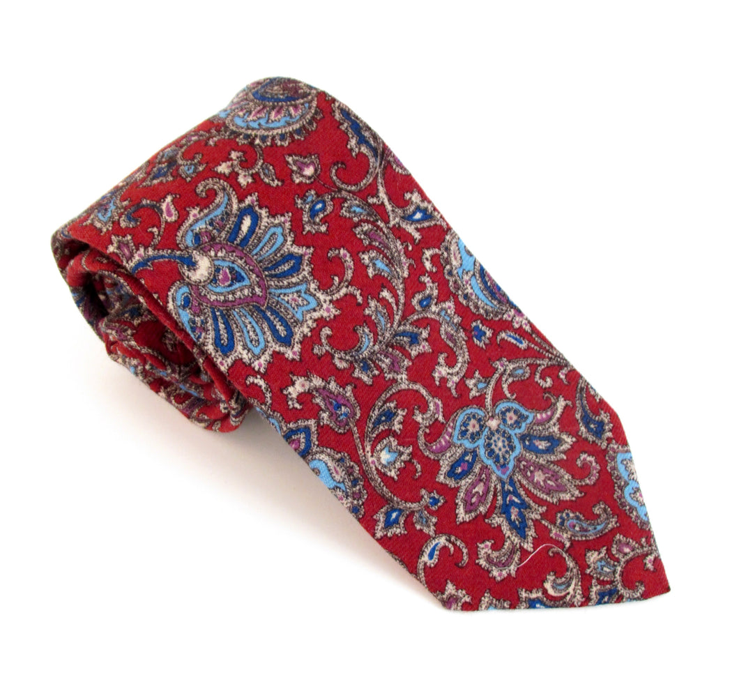 Red Paisley Medallion Wool Tie by Van Buck