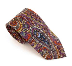 Orange Large Paisley Wool Tie by Van Buck