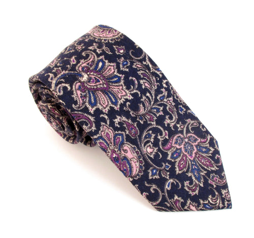 Navy Paisley Medallion Wool Tie by Van Buck