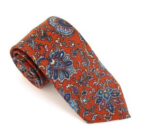 Rust Paisley Medallion Wool Tie by Van Buck