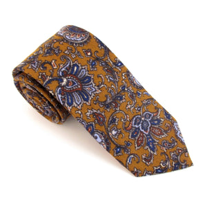 Mustard Paisley Medallion Wool Tie by Van Buck