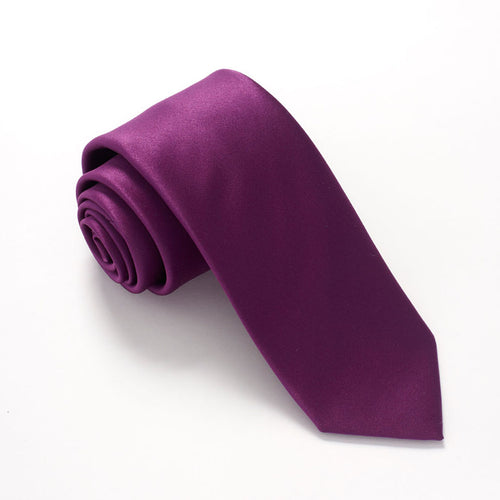 Purple Satin Wedding Tie By Van Buck