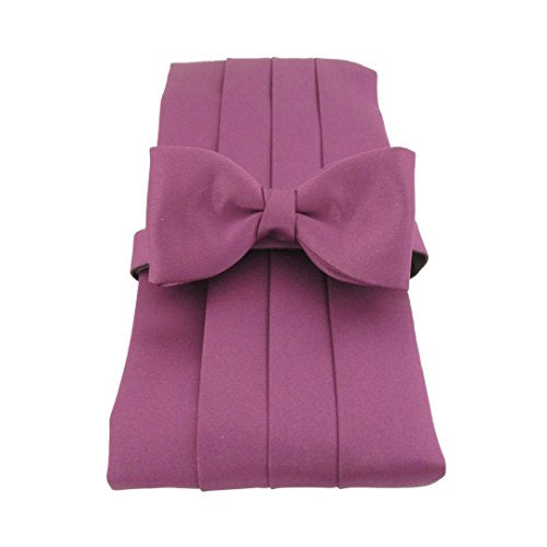 Purple Plain Satin Cummerbund & Bow Tie Set by Van Buck