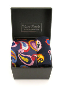 Van Buck Limited Edition Red Paisley Tie & Socks Gift Set