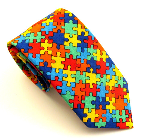 Jigsaw Cotton Tie by Van Buck