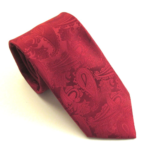 Cherry Red Paisley Wedding Tie By Van Buck