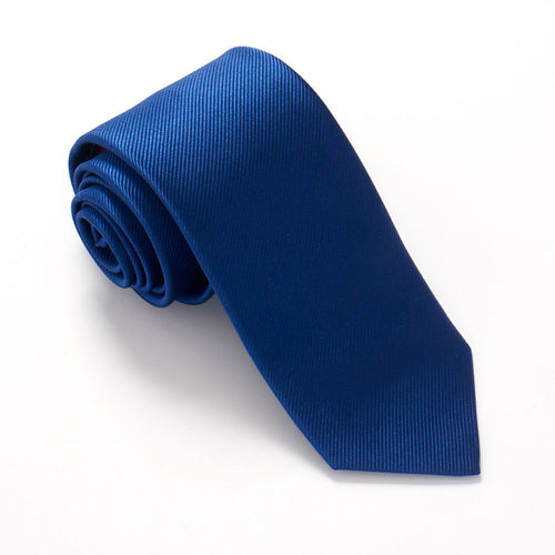 French Blue Plain Red Label Silk Tie by Van Buck