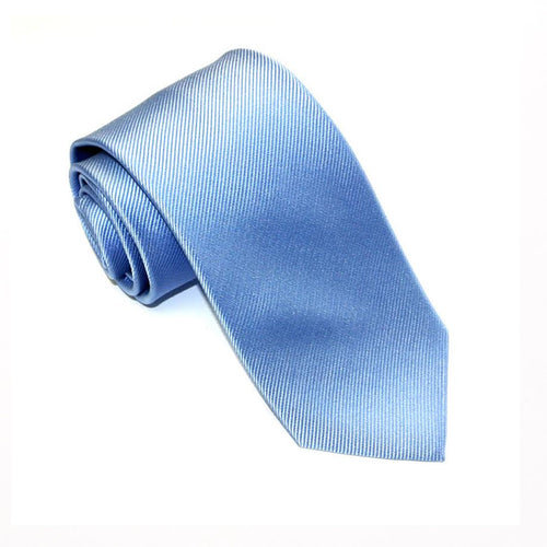 Sky Blue Plain Red Label Silk Tie by Van Buck