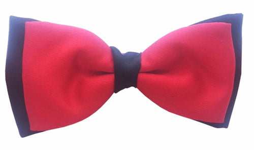 Red & Black Satin Two Tone Bow Tie by Van Buck