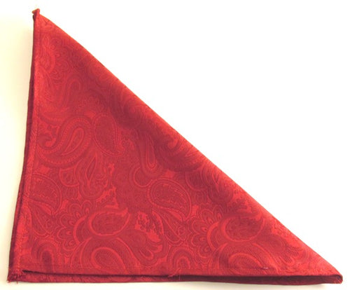 Red Paisley Silk Pocket Square by Van Buck