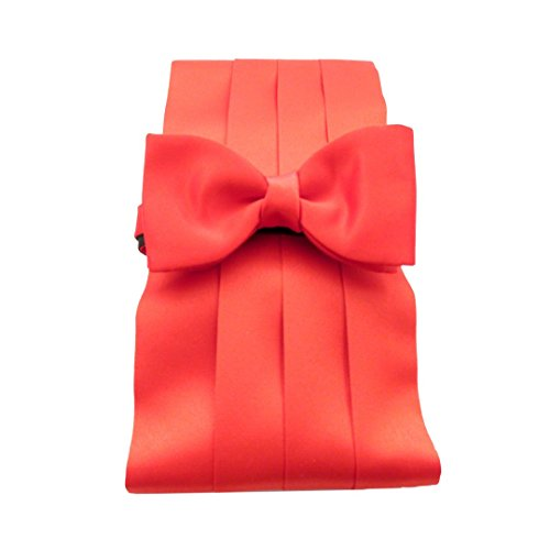 Red Plain Satin Cummerbund & Bow Set by Van Buck