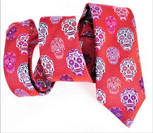 Limited Edition Red Wave with Pink Skull Silk Tie by Van Buck