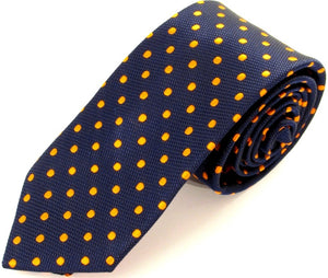 Navy Blue Silk Tie With Orange Polka Dots