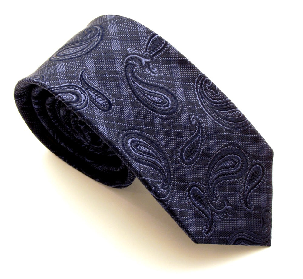 Navy Blue Check Paisley Silk Tie by Van Buck