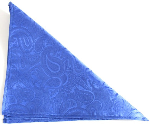 Royal Blue Paisley Silk Wedding Pocket Square by Van Buck