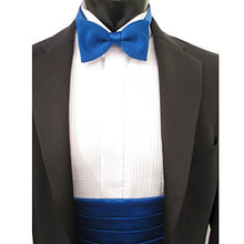Royal Blue Plain Satin Cummerbund & Bow Set by Van Buck