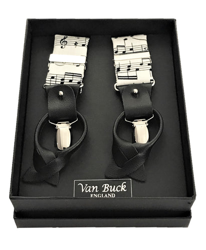 Black & White Sheet Music Party Trouser Braces by Van Buck