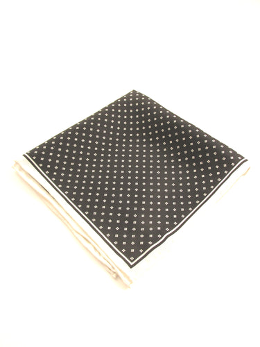 Black and White Small Diamonds Silk Fancy Pocket Square by Van Buck