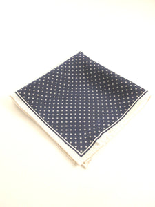 Navy Blue and White Small Daisies Silk Fancy Pocket Square by Van Buck