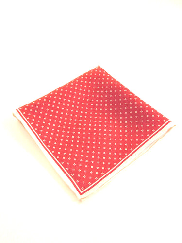 Red and White Small Diamonds Silk Fancy Pocket Square by Van Buck