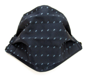 Navy Blue & Blue Mini Fleur De Lis Pattern Silk Face Covering / Mask
