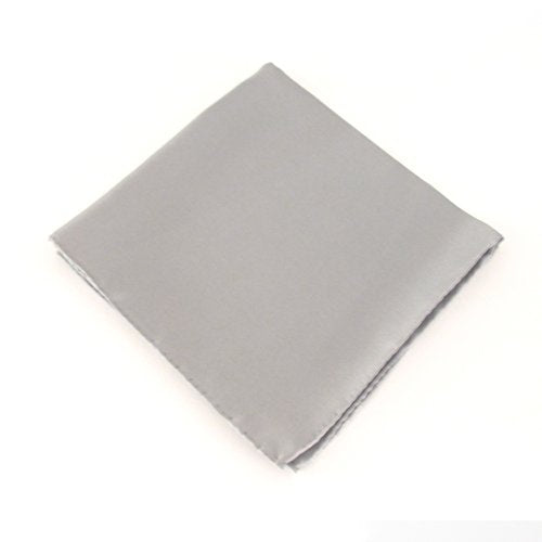 Silver Plain Silk Pocket Square by Van Buck