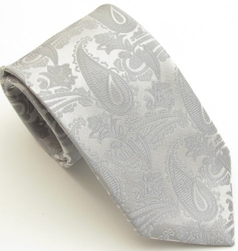 Silver Paisley Wedding Tie by Van Buck