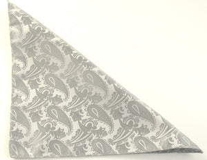 Silver Paisley Pocket Square by Van Buck