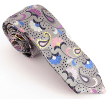 Limited Edition Detailed Silver Paisley Silk Tie by Van Buck