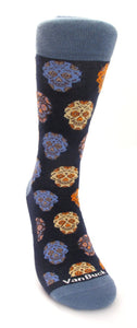 Navy Blue Herringbone and Spot Reversible Scarf & Skull Socks Gift Set