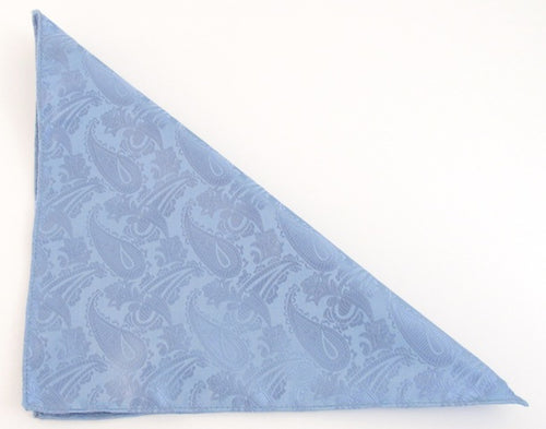 Sky Blue Paisley Pocket Square by Van Buck
