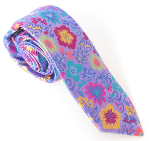 Limited Edition Sky Blue with Multicoloured Large Pansy Silk Tie by Van Buck