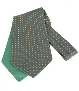 Green with Small Squares Fancy Silk Cravat by Van Buck