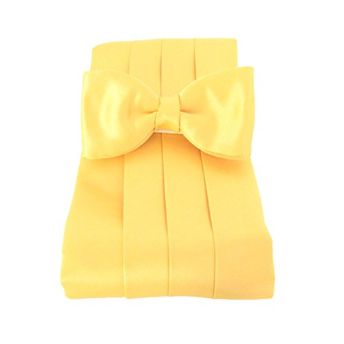 Sunflower Yellow Plain Satin Cummerbund & Bow Set by Van Buck