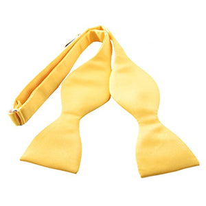 Sunflower Yellow Plain Satin Self-Tied Bow by Van Buck
