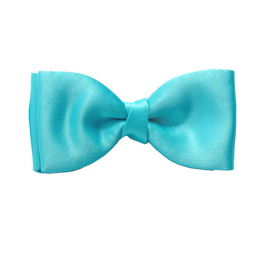 Aqua Satin Pre-Tied Bow by Van Buck