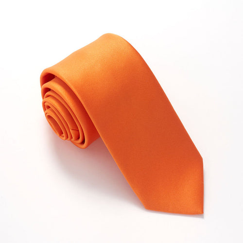 Tangerine Satin Wedding Tie By Van Buck