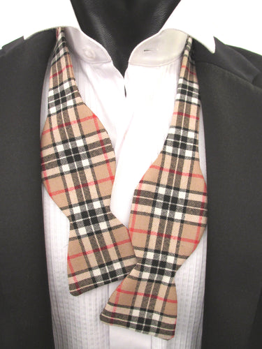 Camel Thompson Wool Tartan Self-Tied Bow Tie by Van Buck