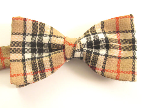 Camel Thompson Wool Tartan Pre-Tied Bow by Van Buck