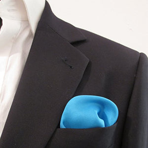 Aqua Plain Silk Pocket Square by Van Buck