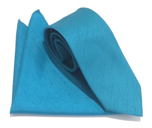 Turquoise Slub Plain Tie and Pocket Square Set by Van Buck