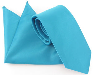 Van Buck Satin Plain Turquoise Tie and Pocket Square Set