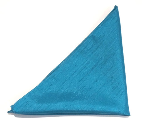 Turquoise Slub Wedding Pocket Square by Van Buck