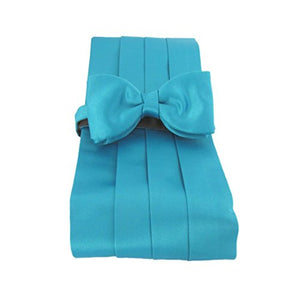 Turquoise Plain Satin Cummerbund & Bow Set by Van Buck