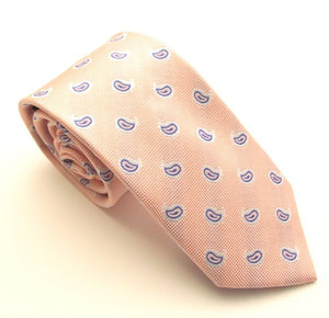 Baby Pink Silk Tie with Small Navy Blue Paisley Pattern