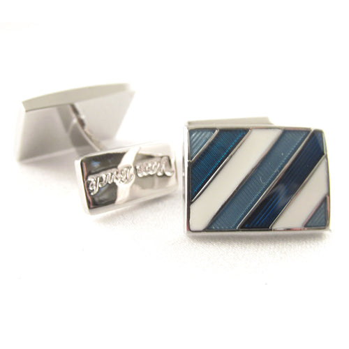 Limited Edition Navy Rectangular Cufflinks with Blue Stripes by Van Buck