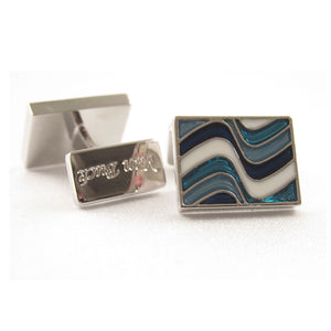 Limited Edition Rectangular Cufflinks With A Blue Wave Pattern by Van Buck