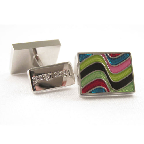Limited Edition Rectangular Cufflinks with a Multicoloured Wave Pattern by Van buck